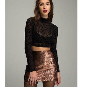 R100 Cherry copper sequin mini skirt